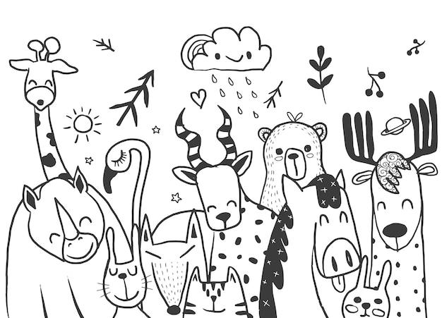 Illustration de jeu de dessin animé animal, croquis de dessin animé mignon