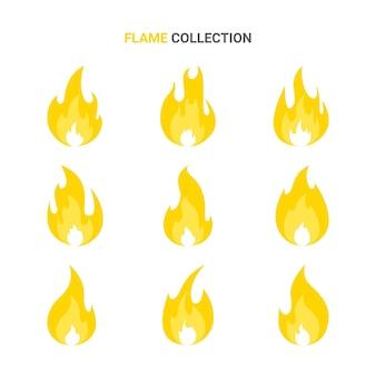 Illustration de jeu de dessin animé de flamme de feu isolé