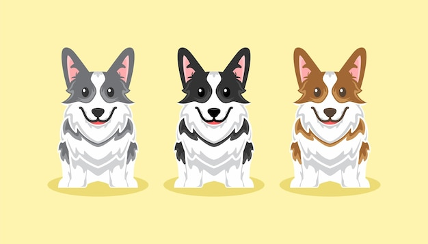 Illustration de jeu de dessin animé mignon chien corgi icône