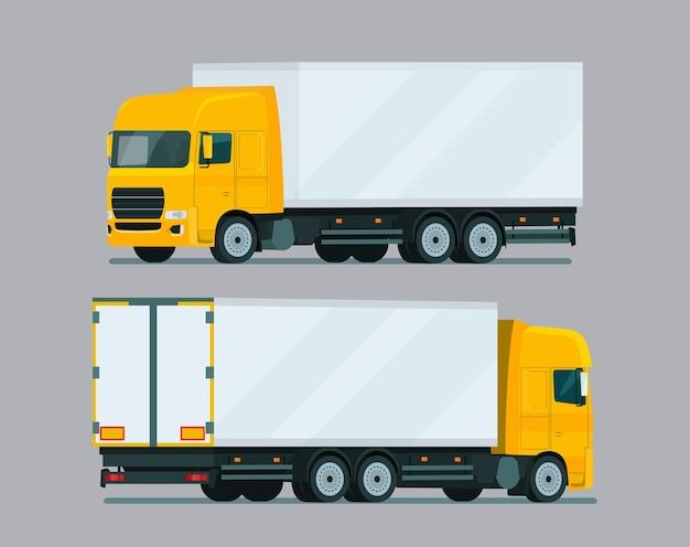 Illustration de jeu de deux angles de camion de fret