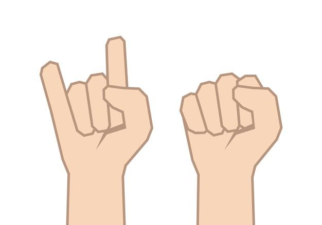 Illustration: jeu de deux mains. symbole poing et rock.