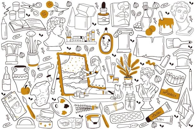 Illustration de jeu de doodle de peinture