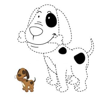 Illustration d'un jeu éducatif et d'un chien à colorier