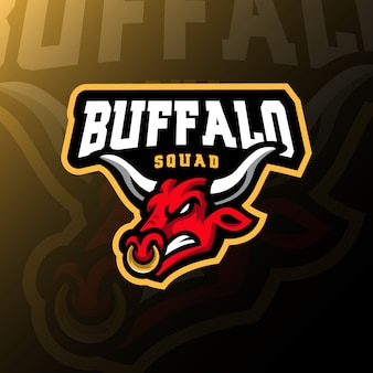 Illustration de jeu esport logo logo mascotte buffalo