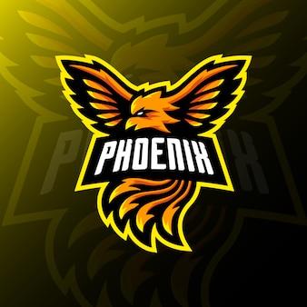 Illustration de jeu esport logo mascotte phoenix.