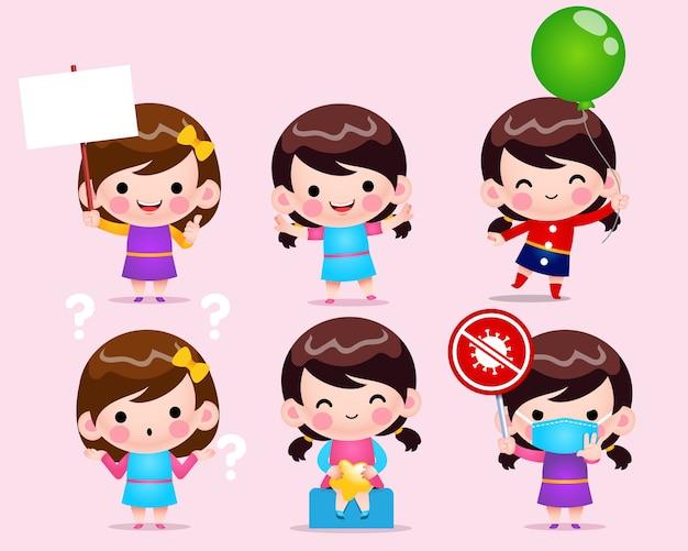Illustration de jeu de filles mignonnes chibi