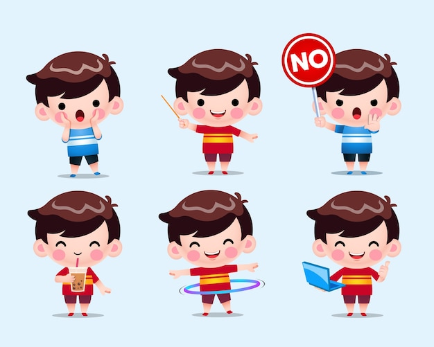 Illustration de jeu de garçons chibi mignons