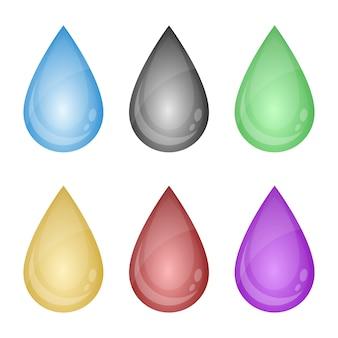Illustration de jeu de gouttes de liquide coloré sur fond blanc