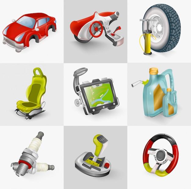 Illustration de jeu d'icônes d'accessoires de voiture