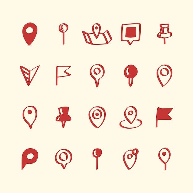 Illustration jeu d'icônes de broche carte
