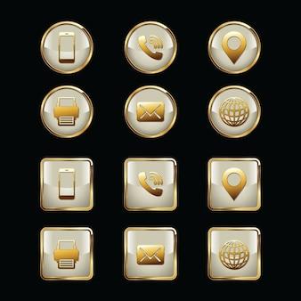 Illustration de jeu d'icônes de carte de visite