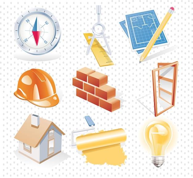 Illustration de jeu d'icônes de construction