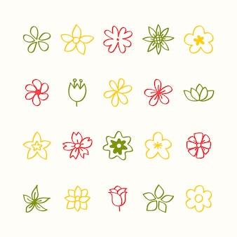 Illustration jeu d'icônes de fleurs