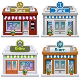 Illustration de jeu d'icônes de magasin