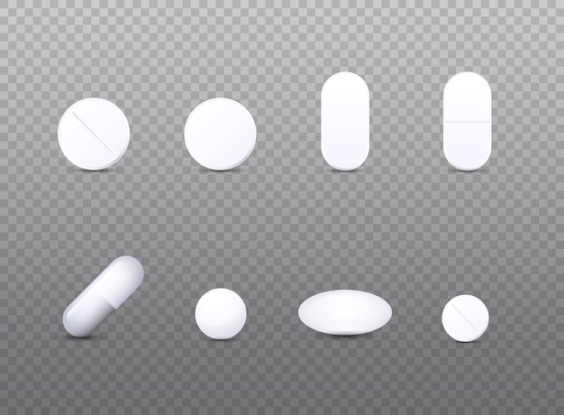 Illustration de jeu d'icônes de pilule médicale blanche réaliste
