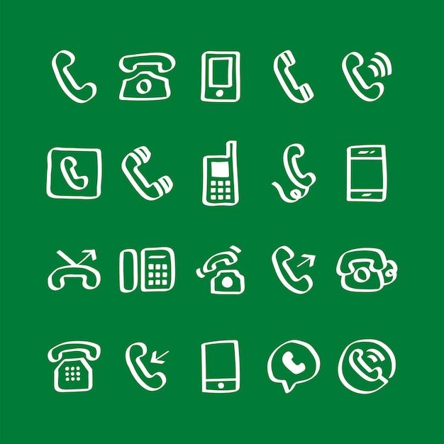Illustration de jeu d'icônes de téléphone