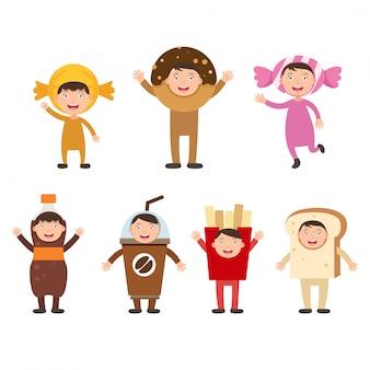 Illustration de jeu isolé costumes malbouffe enfants