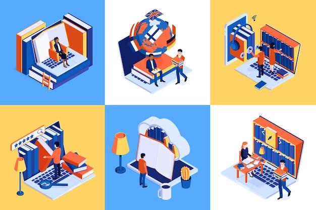 Illustration de jeu isométrique de bibliothèque en ligne