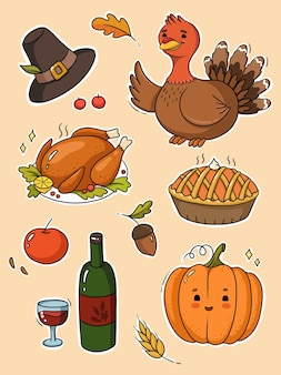 Illustration de jeu de joyeux thanksgiving