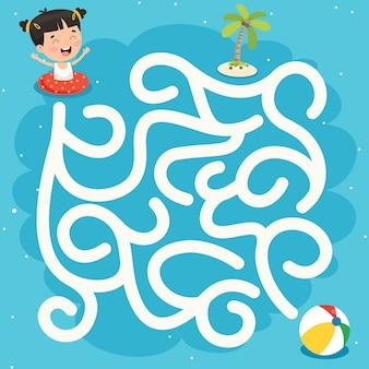 Illustration de jeu de labyrinthe pour enfants