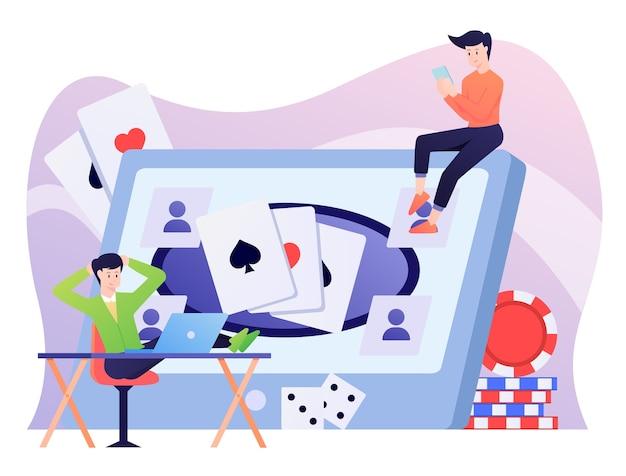 Illustration de jeu en ligne, jouer au poker et domino.