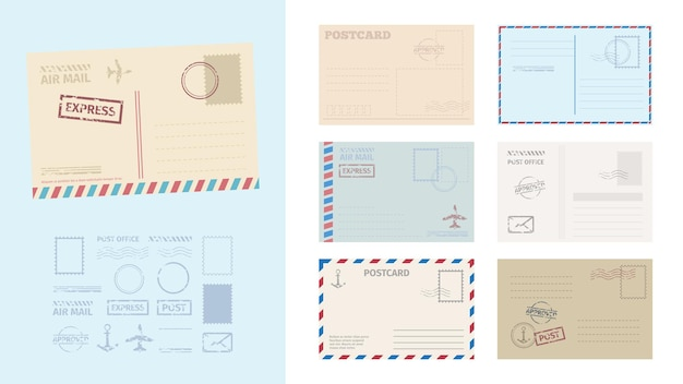 Illustration de jeu de modèle de carte postale enveloppe