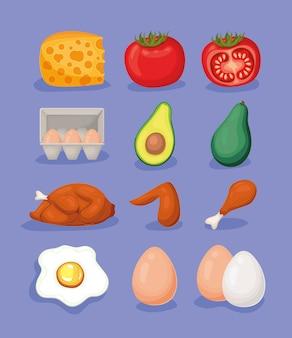 Illustration de jeu de nourriture éléments cétogènes