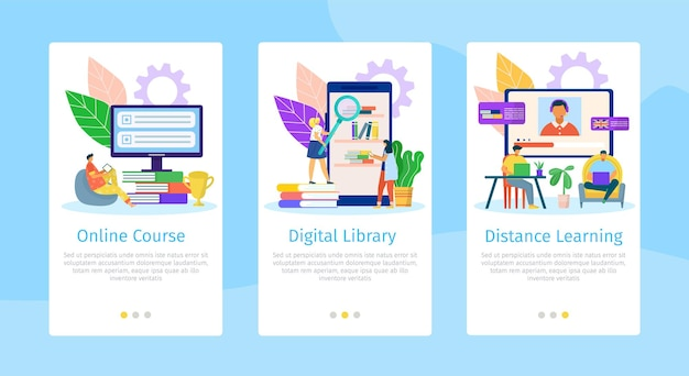 Illustration de jeu de page web mobile plat éducation en ligne
