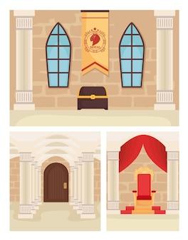 Illustration de jeu de paysage de château de conte de fées