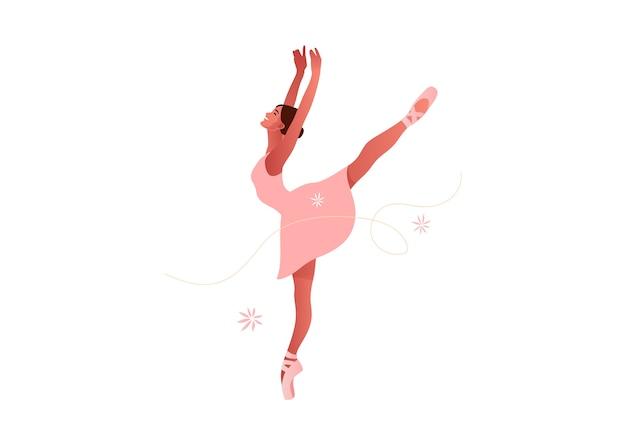 Illustration de jeu plat belle ballerine. beauté du ballet classique. danseuse de ballet jeune femme gracieuse portant tutu. pointes, couleurs pastel.