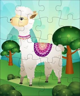 Illustration de jeu de puzzle pour les enfants avec un alpaga mignon