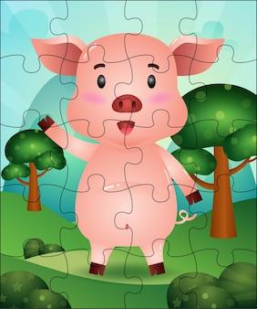 Illustration de jeu de puzzle pour les enfants avec un cochon mignon