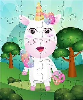 Illustration de jeu de puzzle pour les enfants avec une licorne mignonne