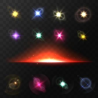 Illustration de jeu de rayons éblouissants de lentilles