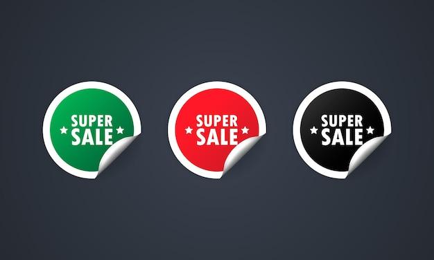 Illustration de jeu de réduction d'étiquettes de vente super