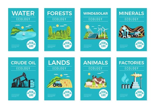Illustration de jeu de ressources environnementales naturelles