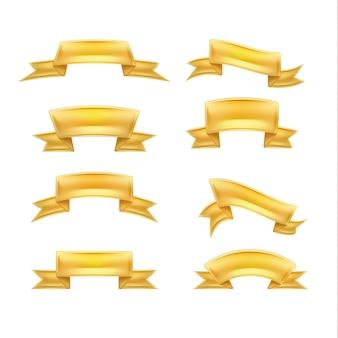 Illustration de jeu de rubans dorés réalistes