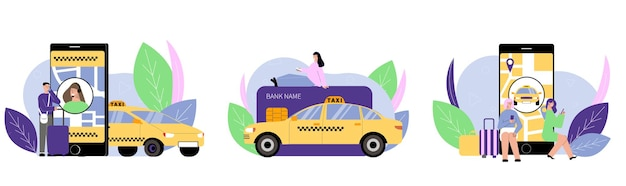 Illustration de jeu de service de taxi
