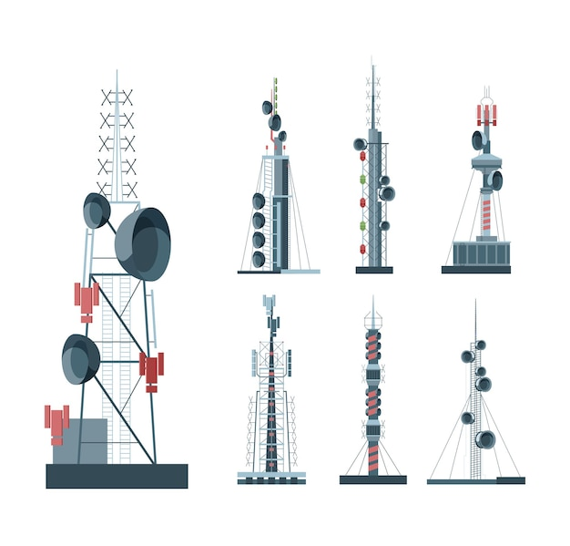Illustration De Jeu De Tours De Communication Cellulaire Vecteur Premium