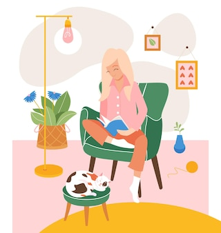 Illustration jeune femme assise sur une chaise confortable et lisant un livre dans une pièce.