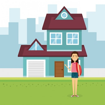 Illustration de la jeune femme à l'extérieur de la maison