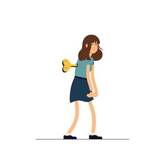 Illustration jeune femme fatiguée, humeur somnolente, mauvaise santé, mental épuisé. concept illustration personnage féminin comme jouet d'horlogerie.