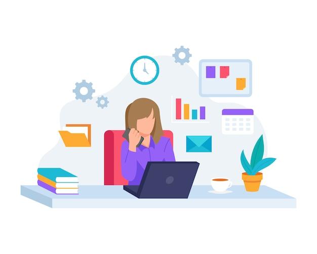 Illustration jeune femme travaillant avec ordinateur portable
