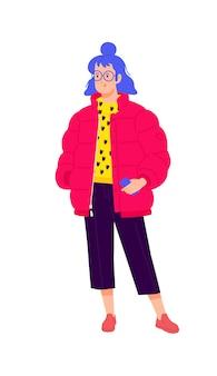 Illustration d'une jeune fille dans une doudoune rouge. fille élégante hipster aux cheveux bleus.