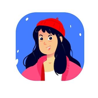 Illustration d'une jeune fille. dessin animé belle fille dans un chapeau à la mode rouge.