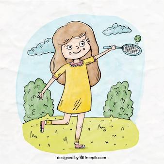 Illustration d'une jeune fille jouant au tennis