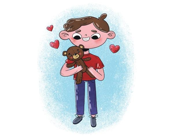 Illustration de jeune garçon étreignant ours en peluche