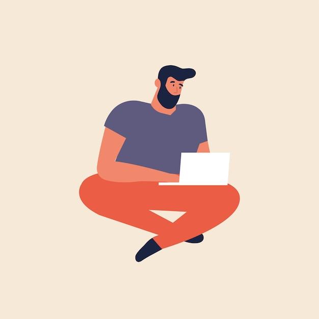 Illustration jeune homme assis sur le sol et travaillant sur ordinateur portable. indépendante féminine.
