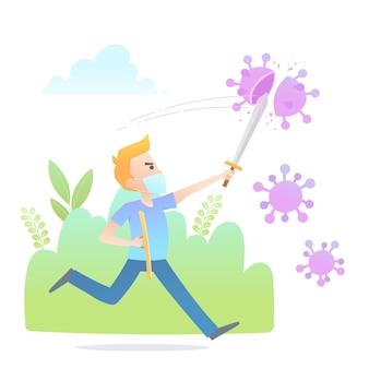 Illustration d'un jeune homme combattant le virus