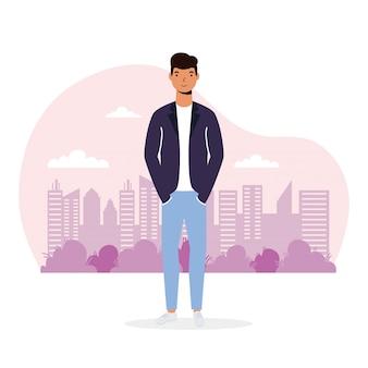 Illustration de jeune homme décontracté